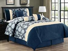 7-Pc Flocking Floral Blossom Jacquard Comforter Set Denim Navy Blue Ivory Queen
