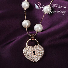 18K Rose Gold GP Simulated Pearl Diamond Studded Elegant Lock Heart Necklace