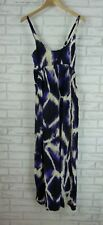 WITCHERY Maxi Dress Sz 6  Blue, Black, Cream Print 100% Silk