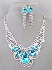 Aqua Blue and Crystal Rhinestone Bib Necklace Earrings Set Fashion Jewelry NEW