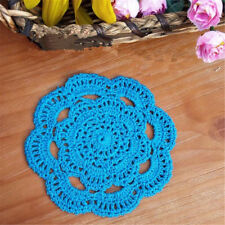 Handmade Round Crochet Cotton Table Cup Mats Placemats Doilies Coasters 16cm Blue