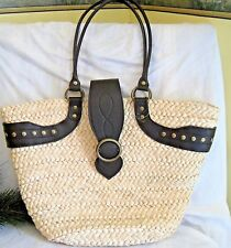STRAW & DARK BROWN LEATHER LARGE TOTE BAG-NWT