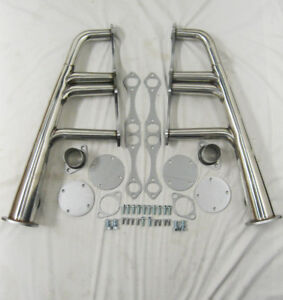 """SBC Chevy Lake Style Lakester Street Rat Rod Headers Stainless 1 5/8"""" Tubes"""