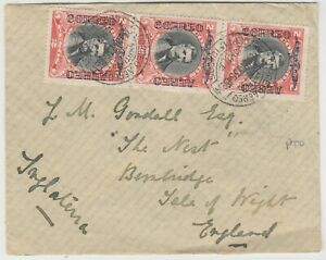 CHILE 1935 multi franked (on front and back) air cover *IQUIQUE-ISLE OF WIGHT*