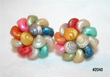 Vintage Bright Multi Colored Iridescent Troca Shell Cluster Screw On Earrings