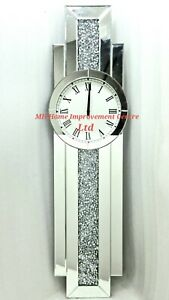 GrandFather Style Large WALL Clock Sparkly Diamond Crush Crystal Silver Mirrored
