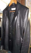 Jones New York Button-Front Women's Black Leather Jacket Size Small BEAUTIFUL!