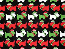FAT QUARTER FABRIC SCOTTIES  SCOTTY DOG TERRIER CHRISTMAS ROBERT KAUFMAN COTTON