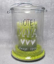 """Casablanca Windlicht Glas """"Hotel Mama""""mit Sand und Kerze silber Herzen Geschenk"""