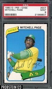 1980 O-PEE-CHEE OPC #307 Mitchell Page A's PSA 9 MINT