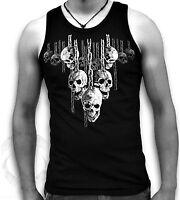 Hellraiser Hanging Skulls Chains Mens Sleeveless Muscle T Tank Top Vest Sm - 2XL
