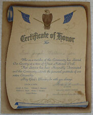 WWII NAMED US ARMY AIR CORPS USAAC CERTIFICATE OF HONOR MILITARY DOCUMENT