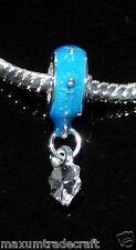 5x bleu en alliage émail feuilles charm beads fit european chaîne serpent