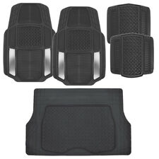 ACDelco All Weather Silver/Black Rubber Car Floor Mats 5 PC  Trimmable Set