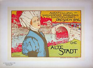Otto Fischer: Die Alte Stadt (Dresden) - Lithography Original, Signed 1897
