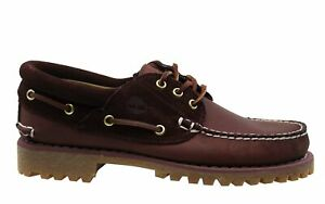 Timberland Classic 3 Eye Boat Red Leather Lace Up Mens Boat Shoes A163Y