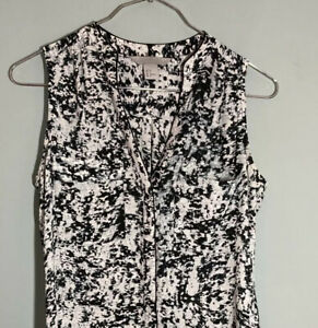 Black and White Collared Shirt Top Button Front Summer H&M XS Size 6