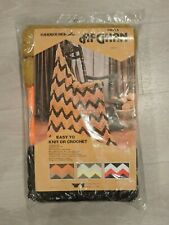 Vtg Sealed Afghan Kit Crochet Knit Orange Brown Gold Yarn Knits