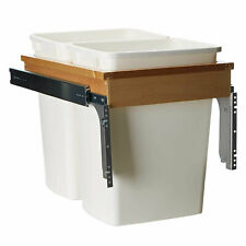 Rev A Shelf 35 Quart Pull Out Sliding Double Waste Trash Bin, White (Open Box)
