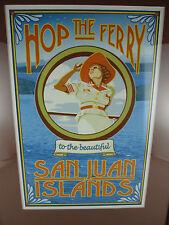 """Vtg framed San Juan Islands """"Hop the FERRY"""" Ad Art Wall Hanging 17x14 Orcas"""