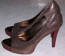 HIGHEST HEEL COLLECTION Bronze & Red Sparkly Heels Platform Pump Womens Shoes 9M