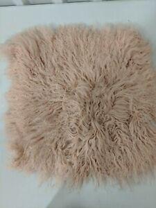 "West Elm Mongolian Lamb Pillow Cover, 16"" by 16"", Rosette, Pink, Zipper Closure"