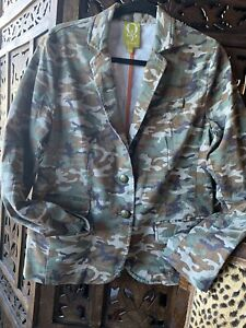 Camouflage Jacket.Size12.Very Fine Baby Corduroy.Vintage.Slightly Shaped.Unique.