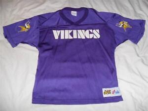 MINNESOTA VIKINGS Jersey Majestic Youth Boys Large Used Purple NFL screen print