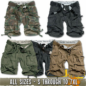 SURPLUS DIVISION COMBAT CARGO HEAVY DUTY SHORTS, FREE BELT, ARMY MILITARY S-XXL