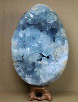 3.08lb Rare Top Grade Gorgeous Sky Blue Celestite Egg Geode Rough Reiki Crystal