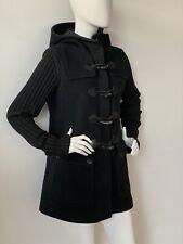 Ladies BURBERRY Prorsum Black Wool Toggle Horn Button Duffle Coat Jacket UK12