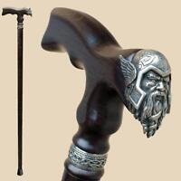 Custom Size - Viking Men's Wooden Walking Cane Stick - Stylish Carved Wood Canes