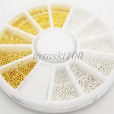 2000 Caviar Beads Wheel Gold Silver Nail Art Metal Micro Balls Decoration Gems