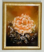 J. PAXTON Pink Flower Still Life Oil on Canvas in Gilt Frame