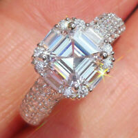 CertifIed 2.45Ct 14K White Gold Over Halo Asscher Cut Diamond Engagement Wedding