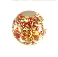 Murano Glass Paperweight, Vintage Art Glass Multi Color, Coral, Orange, White