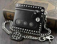Mens Motorcylce Punk Studded Rivet Leather Wallet with wallet chain