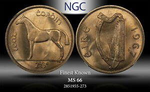 1967 IRELAND 1/2 CROWN / 2 SCILLING NGC MS66 FINEST GRADE KNOWN WORLDWIDE