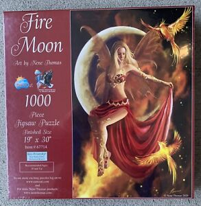 SEALED SunsOut Fire Moon 1000 Piece Jigsaw Puzzle Art By Nene Thomas