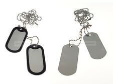 2 x Military Dog Tags with 2 x Chain, Army ID Tag, Necklace Soldier Fancy Dress
