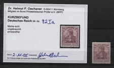 Deutsches Reich 92 I a ungebraucht BPP-Foto-Kurzbefund (B03665)