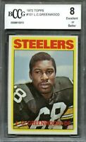 1972 topps 101 L.C. GREENWOOD pittsburgh steelers rookie card BGS BCCG 8