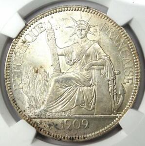 1909-A French Indo China Piastre Coin 1P - NGC MS61 (BU UNC) - Rare Grade!