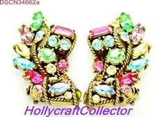 34662a - Vintage Signed Hollycraft 1957 Pastel Stones Bolder Clip Earrings