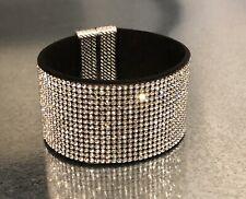 Swarovski Elements Wide Bracelet Silver Crystal Alcantara Leather Magnetic Cuff