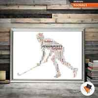 HOCKY PLAYER PERSONALISED WORD ART GIFT IDEA FOR BIRTHDAY CHRISTMAS PRESENT HIM