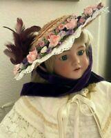 Victorian Ribbonwork Pink Roses Straw Hat for LARGE Jumeau, Bru or German Doll