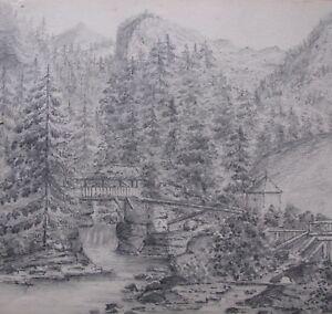 "FREDERICK BENNETT BRITISH PENCIL ""TIMBER WALK BRIDGE IN SWISS ALPS"" 1872 A"