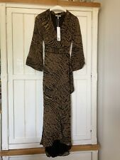 GANNI Brown Animal Tiger Print Wrap Maxi Dress, UK 6-8, EU 34-36, BNWT £210