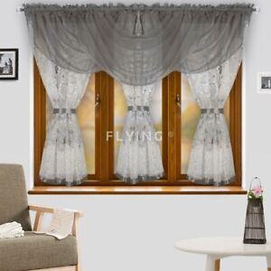 Fertiggardine Gardine Vorhang Voile Panel Grau Weiß Wohnzimmer 500cm 150cm Blume